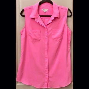Bright Pink Chiffon Sleeveless Top